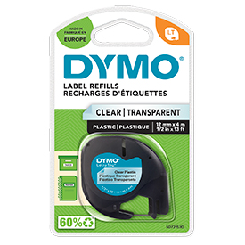 Dymo 12267 12mmx4m Black on Clear Plastic Tape