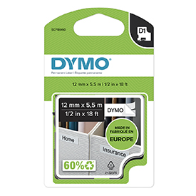 Dymo 16959 D1 12mm x 5.5m Black on White Polyester labels