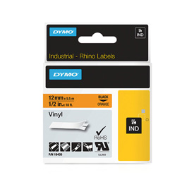 Dymo 18435 12mm Orange Vinyl Tape - S0718490