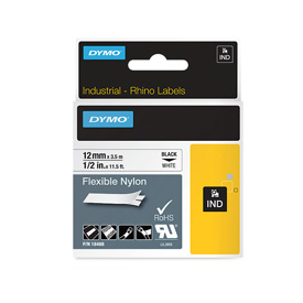 Dymo 18488 12mm x 3.5m Black On White Flexible Nylon Tape - S0718100