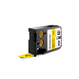Dymo 1868772 XTL 19mm x 7m Roll All-Purpose Vinyl Black on Yellow
