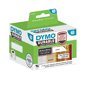 Dymo 1933081 LW Durable shelving label 25mm x 89mm Black on White