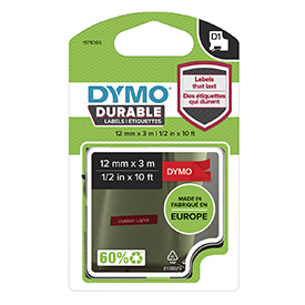 Dymo 1978366 D1 Durable 12mm x 3M Tape White on Red