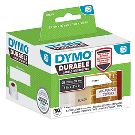 Dymo 2112285 LW Durable shelving label 25mm x 89mm Black on White 700 Labels