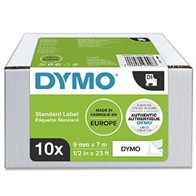 Dymo 40913 D1 9mm x 7m Black on White Tape 10 Pack