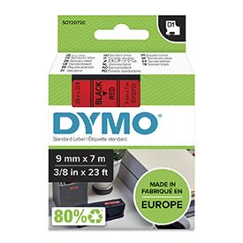 Dymo 40917 D1 9mm x 7m Black on Red Tape