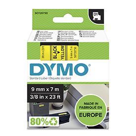 Dymo 40918 D1 9mm x 7m Black on Yellow Tape