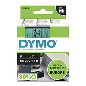 Dymo 40919 D1 9mm x 7m Black on Green Tape