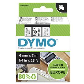 Dymo 43613 D1 6mm x 7m Black on White Tape