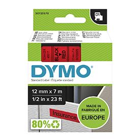 Dymo 45017 D1 12mm x 7m Black on Red Tape