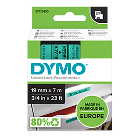 Dymo 45809 19mm x 7m Black on Green Tape
