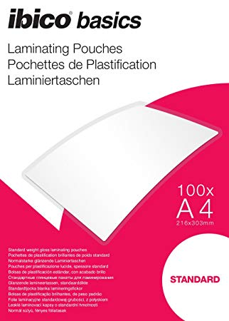 Ibico Basics A4 Standard Laminating Pouches - Pack of 100