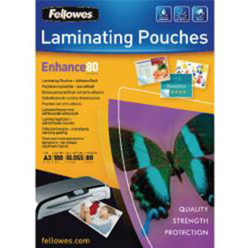 Fellowes 53023 A3 80Mic Adhesive Backed Pouch 100pk