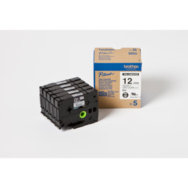 Brother HGEM931V5 Black on Matt Silver 8M x 12mm High Grade Tape 5 pack
