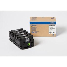 Brother HGE-M951V5 Black on Matt Silver 8M x 24mm High Grade Tape 5pk