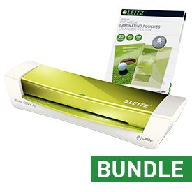Leitz iLAM Home Office A4 Green Laminator and Pouches Bundle