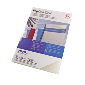 GBC PolyClearView Binding Covers 300 Micron A4 Frosted 100 Pk