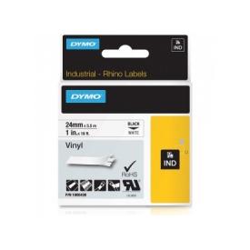 Dymo S0773830 24mm Black on White Permanent Polyester Tape - S0773830