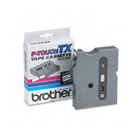 Brother TX251 Black on White 24mm x 15m Gloss Tape