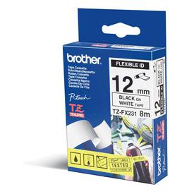 Brother TZEFX231 Black on White 8M x 12mm Flexi Tape