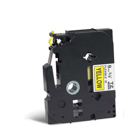 Brother TZEFX621 Black on Yellow 8M x 9mm Flexi Tape