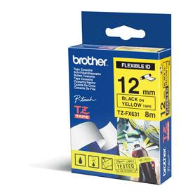 Brother TZEFX631 Black on Yellow 8M x 12mm Flexi Tape