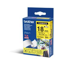 Brother TZEFX641 Black on Yellow 8M x 18mm Flexi Tape