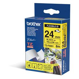 Brother TZEFX651 Black on Yellow 8M x 24mm Flexi Tape