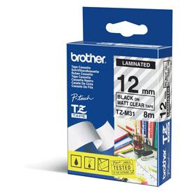 Brother TZEM31 Black on Clear 8M x 12mm Matt Tape