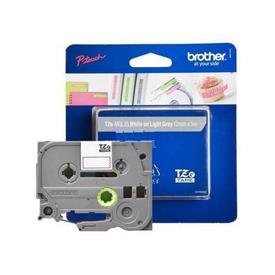 Brother TZEMQL35 White on Light Grey  5M x 12mm Matt Tape