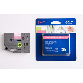 Brother TZEMQP35 White on Berry PInk  5M x 12mm Matt Tape